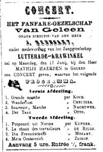 Poster concert in 1867 bij Mathis Haelden